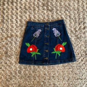 Topshop Embroidered Jean Skirt